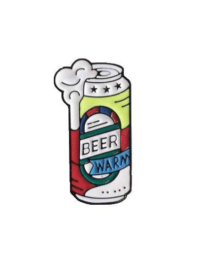 enamel pin warm beer