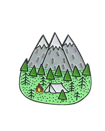 enamel pin camping in mountains fire and tent