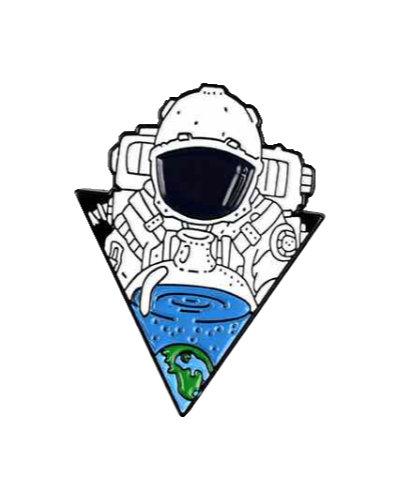 enamel pin astronaut in space