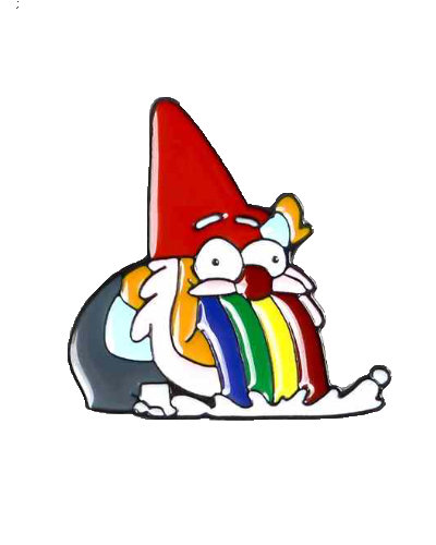 enamel pin gnome rainbow