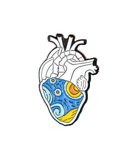 enamel pin heart van gogh art