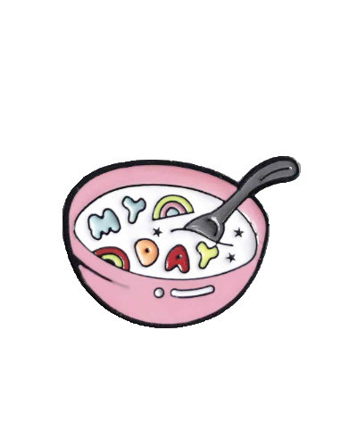 enamel pin pink bowl with muesli