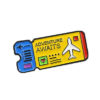 enamel pin flight ticket blue yellow