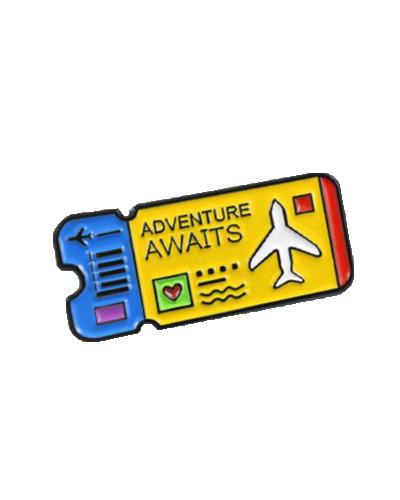 enamel pin flight ticket blue yellow