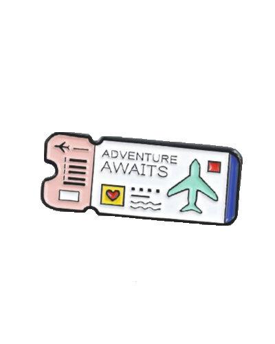 enamel pin flight ticket white