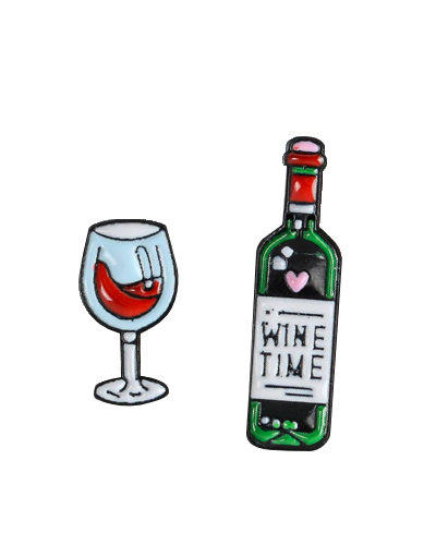 two enamel pins bottle wine and glass