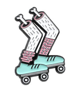 enamel pin with zombie legs rolling sporty around